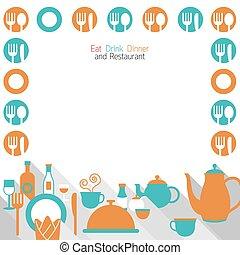 middag, äta, ram, restaurang