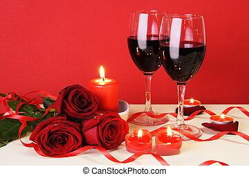 middag, begrepp, romantisk, levande ljus