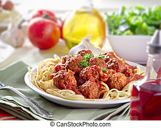 middag, hjärtlig, spagetti