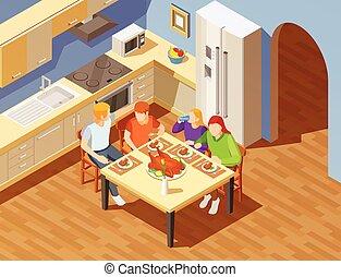 middag, isometric, avbild, familj, kök