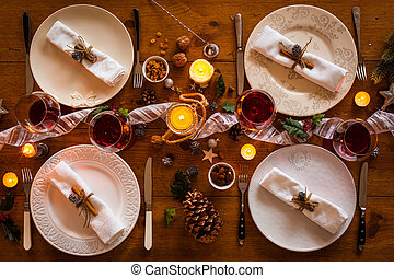middag, jul, familj