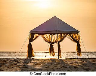 middag sätta, strand, romantisk