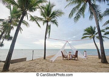 middag sätta, strand