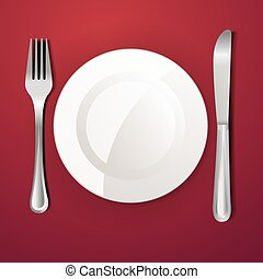 middag tallrik, kniv och vägskäl