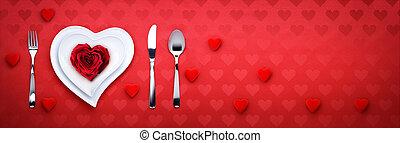middag, Valentinkort, romantisk, dag