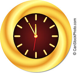 midday., χρυσαφένιος , μεσάνυκτα , απομονωμένος , clock., μικροβιοφορέας , εικόνα