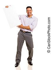 midddle, tábua, segurando, em branco, envelhecido, homem