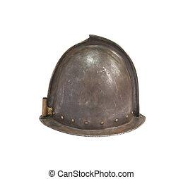 middelalderlige, ridder, hjælm
