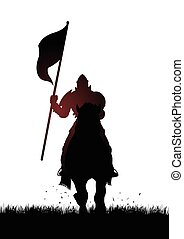 middelalderlige, ridder, på, hest