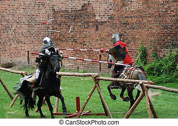 middelalderlige, riddere, jousting