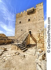 middelalderlige, slot, i, kolossi, limassol, cyprus