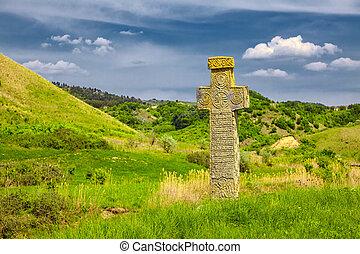 middelalderlige, sten, kors