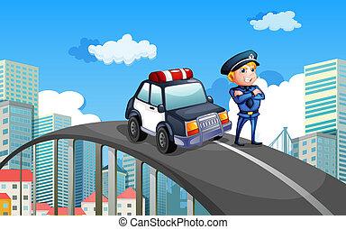 middelbare , auto, patrouille, snelweg, politieagent