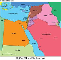 middelbare , israël, oosten, landen, namen