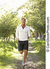middelbare , jogging, oud, park, man