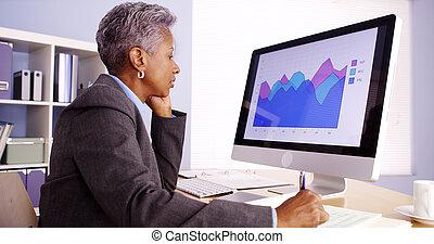 middelbare leeftijd , afrikaan, businesswoman, het spreken op de telefoon, en, werkende , in, kantoor