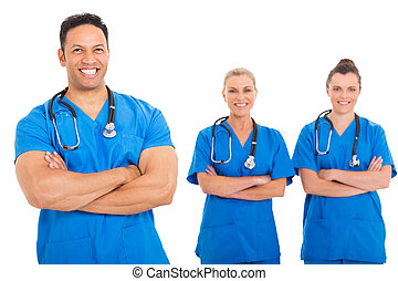 middelbare leeftijd , arts, met, medisch team