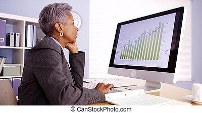 middelbare leeftijd , black , businesswoman, het spreken op de telefoon, en, werkende , in, kantoor