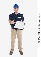 middelbare leeftijd , levering persoon, vasthouden uit, klembord