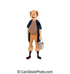 middelbare leeftijd , mannelijke , farmer, staand, met, emmer, tuinman, op het werk, spotprent, vector, illustratie