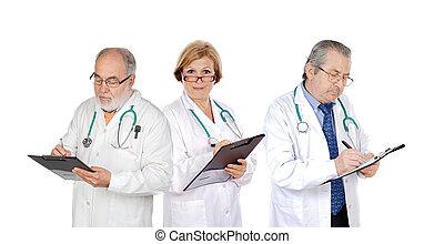 middelbare leeftijd , vullen, drie, rapporten, artsen
