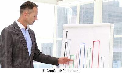 middelbare leeftijd , zakenman, doen, een, presenta