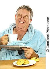 middelbare , ontbijt, oud, man
