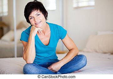 middelbare , vrouw, oud, aantrekkelijk