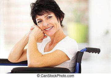 middelbare , vrouw, oud, invalide