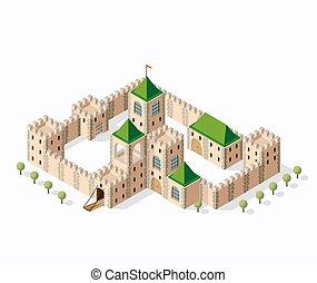 middeleeuws, burcht, fort