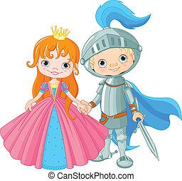 middeleeuws, dame, en, ridder