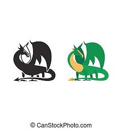 middeleeuws, draak, pictogram, en, silhouette