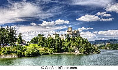 middeleeuws, dunajec, kasteel, in, polen