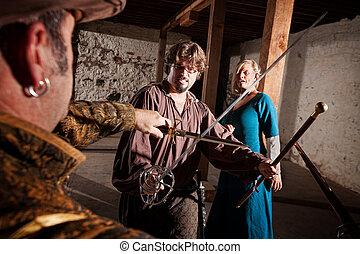 middeleeuws, held, swordfighting
