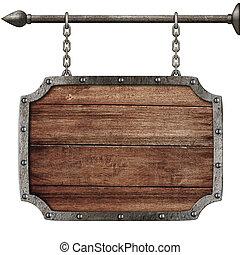 middeleeuws, houten teken, hangend, kettingen, vrijstaand, op wit