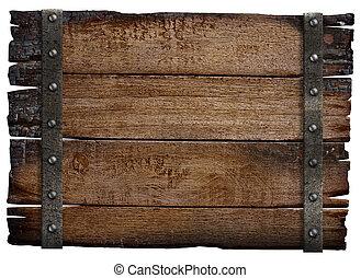 middeleeuws, houten teken, vrijstaand, plank