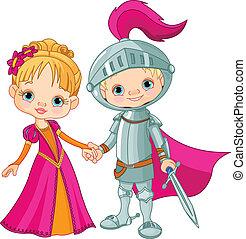middeleeuws, jongen en meisje