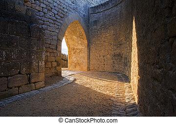 middeleeuws, kasteel, archway