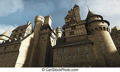 middeleeuws, kasteel, muren