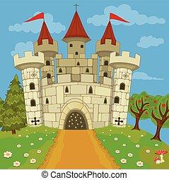 middeleeuws, kasteel, op, heuvel