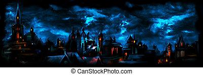 middeleeuws, nacht, stad, spandoek
