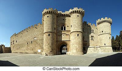 middeleeuws, (palace), rhodes, panoramisch, griekenland,...