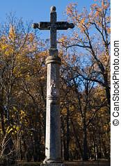 middeleeuws, pillory, steen, kruis, in, een, middellandse zee, bos
