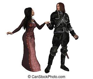 middeleeuws, ridder, en, zijn, dame