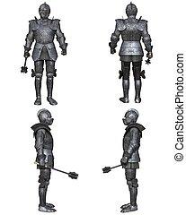 middeleeuws, ridder, fantasie, karakter, set, (gothic, decorated)