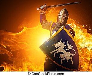 middeleeuws, ridder, in, aanval, positie, branden,...