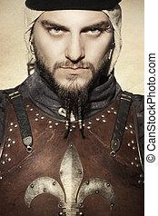 middeleeuws, ridder, in, harnas