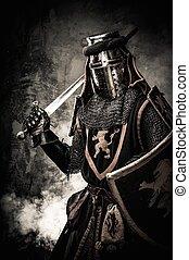 middeleeuws, ridder, met, een, zwaard, tegen, steenmuur