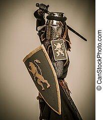 middeleeuws, ridder, met, zwaard, en, schild