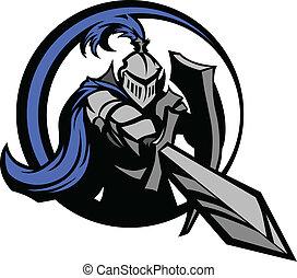 middeleeuws, ridder, met, zwaard, en, shie